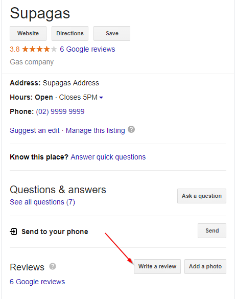 supagas google review 1